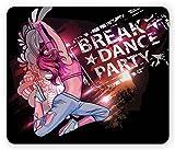 ユースマウスパッドby Ambesonne、Break Danceパーティーポスターデザインティーン女の子のJumpingディスコナイトクラブライフスタイル、標準サイズ長方形ノンスリップゴムマウスパッド、マルチカラー