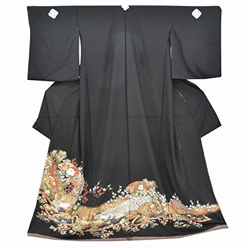 黒留袖 中古 リサイクル 正絹 未仕立て 仮絵羽 黒 金彩 モデルサイズ jj0547b
