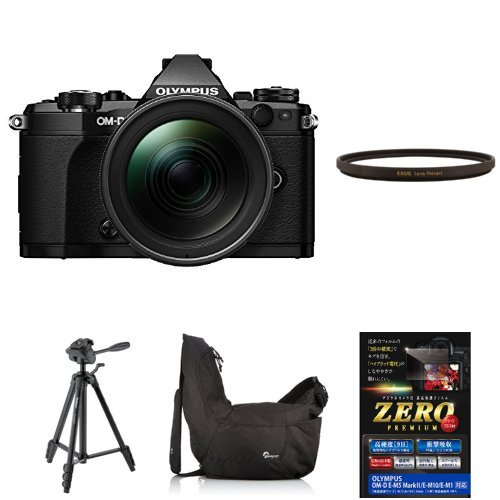 OLYMPUS ミラーレス一眼 OM-D E-M5 MarkII 12-40mm F2.8 レンズキット ブラック + MARUMI カメラ用フィルター EXUS レンズプロテクト 他3点セット