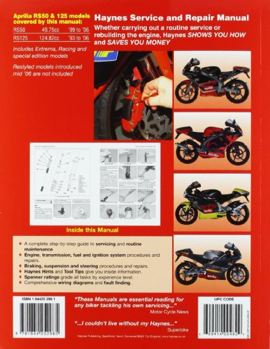 Aprilia RS50 and RS125 Service and Repair Manual (HaynesService & Repair Manuals)