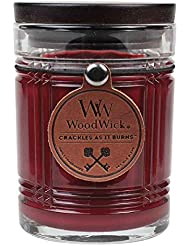 Woodwickマホガニー、Highly Scented Candle、大豆ワックスブレンド、Reserve Collection Etched Glass Jar , Medium 4インチ、8オンス