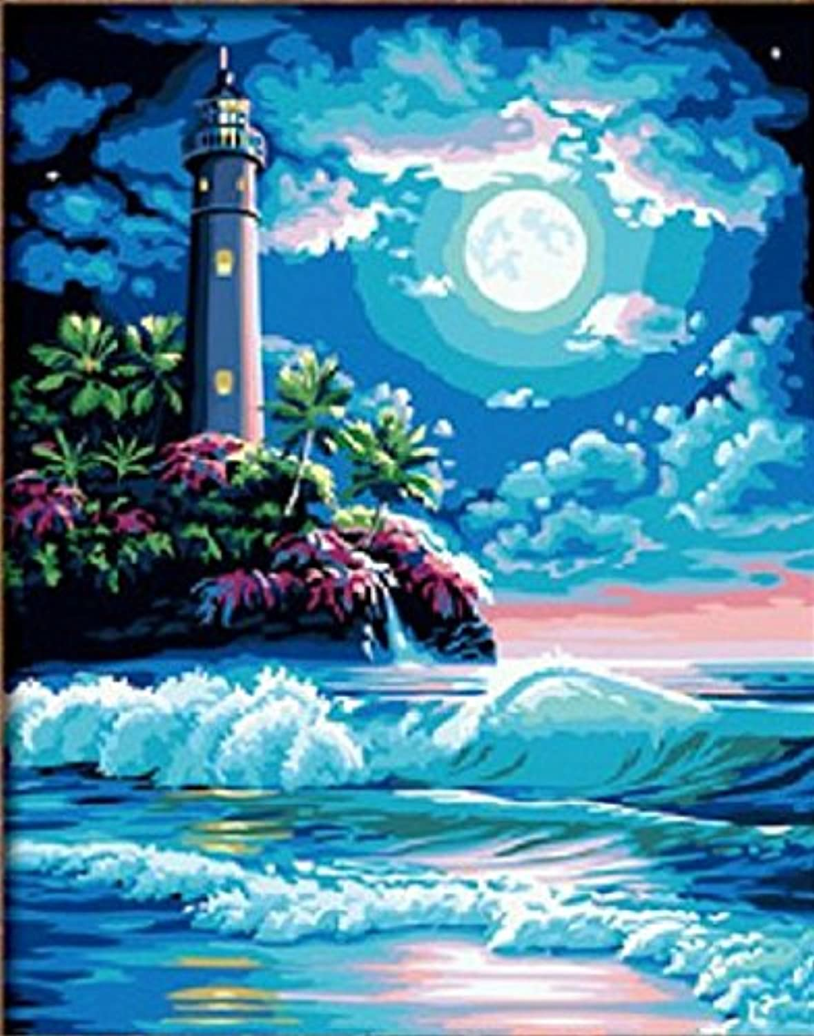 Lighthouse in Moonlight paint-diyペイント装飾ペイント16 x 20インチブルー夢ペイントby NumbersキットUniqueギフトDIY画像フレームレス Without wood frame 3638291