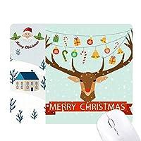 クリスマスの贈り物の鐘祭パターンの鹿 サンタクロース家屋ゴムのマウスパッド
