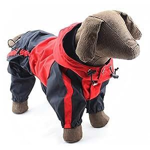 Spinas-スピナス- ペット 犬 服 レインコート カバーオール ツートンカラー フード付 防水 ナイロン 小型 中型 (レッド グリーン 全2色)