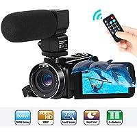 ビデオカメラ Aabeloy デジタルビデオカメラ HD1080P 16倍デジタルズーム モコン付属 遠隔操作可 外付けマイク 3インチIPSタッチパネル 予備バッテリーあり 日本語システム 最大64GB対応 (2400万画素 ビデオカメラ「30FPS」)