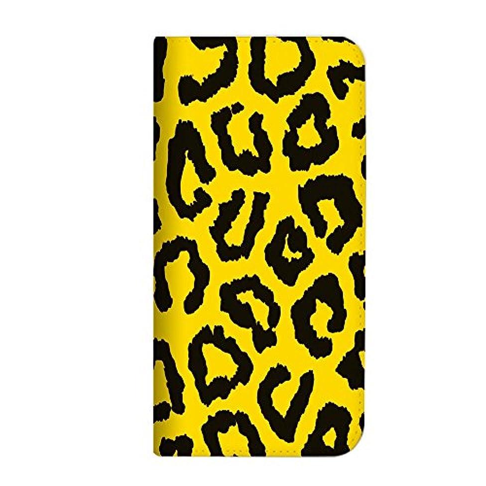 勧める範囲有毒なmitas Galaxy S9 Plus SCV39 ケース 手帳型 ベルトなし 豹 ヒョウ柄 アニマル イエロー (379) NB-0304-YE/SCV39