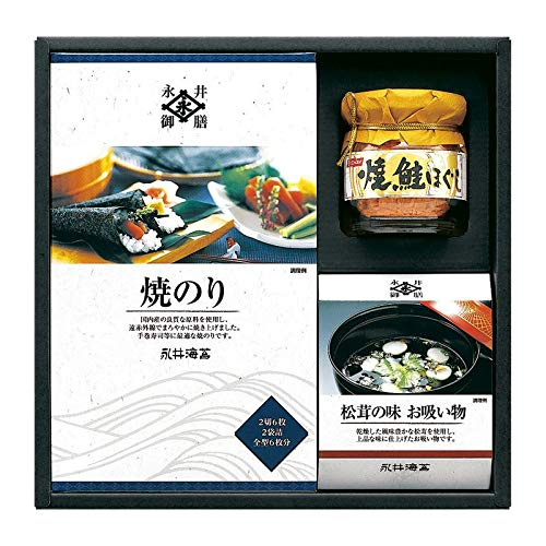 永井海苔 海苔・焼鮭ほぐし・お吸物 詰合せ NV-20 【焼き海苔 焼海苔 焼きのり 缶詰 詰め合わせ ギフトセット】
