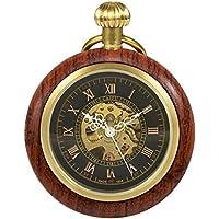 TREEWETO Wooden Mechanical Roman Numerals Pocket Watch Open Face Fob Watch for Men Women