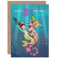 Mermaid Seahorse Birthday 3rd Greetings Card マーメイド