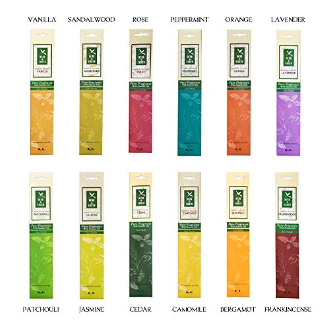 リー豊富に納屋ニッポン コドー ハーブ & アース コレクション 12の香り X 20本 (ラベンダー、ローズ、ベルガモット、サンダルウッド、シダー、ペパーミント、オレンジ、カモミール、ジャスミン、パチョリ、バニラ、フランキンセンス)
