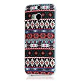Mavis's Diary HTC One M8 Illustrators Series Full-body Protective Case Bumper [Ultra Thin][Anti-Scratch][Perfect Fit] Hard Back Cover for HTC One M8 Material PC (Flowers and Tribal Decorations Pattern) by Mavis's Diary [並行輸入品]