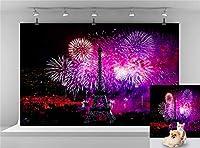 ナイトパリ エッフェル塔 背景 カラー花火 写真背景 結婚式 誕生日 背景 新年のお祝い背景 写真ブース背景 7x5フィート E00T9019