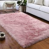 Softlife Faux Fur Sheepskin Area Rug Shaggy Wool Carpet for Bedroom Living Room Home Decor, Wool Faux_Leather, Pink, 3ft x 5ft Rectangle