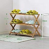 靴ラック3層折り畳み靴キャビネット堅木材防塵強化シューズラック (サイズ さいず : 68cm 68 cm)