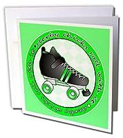 Janna Salak Designs Roller Derby–Derby Chicks Roll with Itグリーンwithブラックローラースケート–Greeting cards-6グリーティングカード封筒付き(GC _ 28515_ 1)