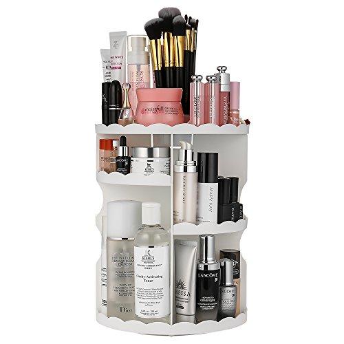 Jerrybox コスメ収納ボックス 360度回転式 化粧品収納スタンド コスメボックス メイクボックス メイクスタンド (ホワイト1)