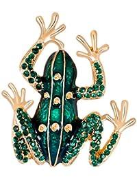 Perfk 全6種類 美しく  輝く  ブローチ 人気 ギフト カジュアル フォーマル アクセサリー 1個 - カエル型