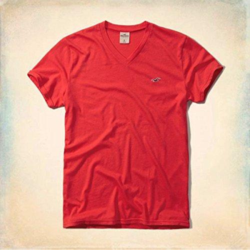 ホリスター メンズ Tシャツ  半袖 刺繍入り Vネック Tシャツ T-Shirt 4色 324-369 (XL, 3.赤 (Red))