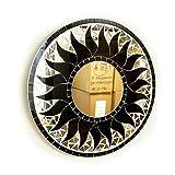 アジアン雑貨 壁掛け バリモザイク・ミラー 鏡 S [D.30cm] 丸型 ブラック 太陽 【丸い鏡】