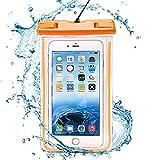 Amazon.co.jpcakuja 防水ケース スマホ用防水ポーチ 夜間発光 最大5.5インチ以下全機種対応 お風呂、アウトドア、潜水、温泉などでご安心できます!iPhoneとAndroidスマホに対応可能ネックストラップ付き【IPX8防水規格】オレンジ