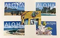 ハワイアン風景 ポストカード 絵葉書 ワイキキ ノースショア ハレイワ プルメリア カイルアビーチ 5枚セット