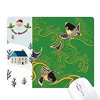 paintingj日本イエローフィッシュ サンタクロース家屋ゴムのマウスパッド