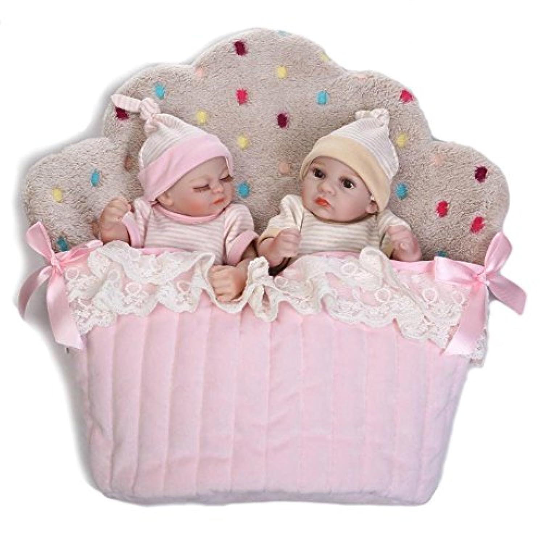 解剖学的に正しいBoy Girlベビー人形Twins FullビニールLifelike 10 Inch Mini Real Looking Kids Bath人形おもちゃwithケーキバッグ
