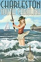 チャールストン、サウスカロライナ州–Pinup Girl Surf Fishing 12 x 18 Signed Art Print LANT-36981-708