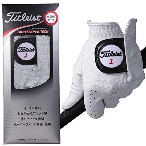 TITLEIST(タイトリスト) PROFESSIONAL TECH グローブ 人工皮革 1枚 左手用 メンズ TG56WT-23 右利き用 白 23cm