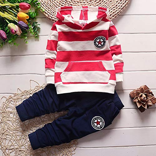 Toddler Baby Boys Clothing Set Hoodies Striped Tops+Pants 2pcs Spring Autumn Kids Cute Outfits - Red - 3T