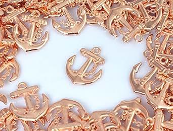 【ピンクゴールド通販広場】海物 イカリ デザイン チャーム ペンダントトップ 5個