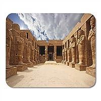 マウスパッドルクソールのカルナックのエジプト古代寺院台無しにされたテーベマウスパッドノートブック、デスクトップコンピューターマウスマット、オフィス用品