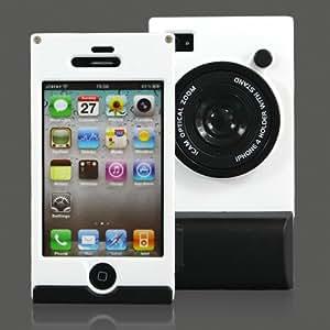 【全5色】iPhone 4 / 4S プラスチックケース ホワイト カメラ型ケースカバー スタンド機能付き アイフォン4 /4S 対応ケースカバー Stand Case For iPhone4S / 4  液晶保護フィルム USB充電ケーブル付(4115-2)