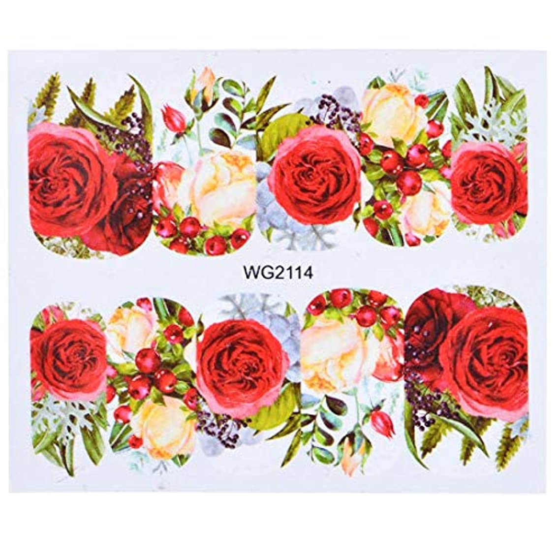 無許可錆び報復SUKTI&XIAO ネイルステッカー 1枚の花スライダー水転写ステッカーネイルアートピンクローズフラワーデカール女性美容メイクラップネイルインテリア、Wg2114