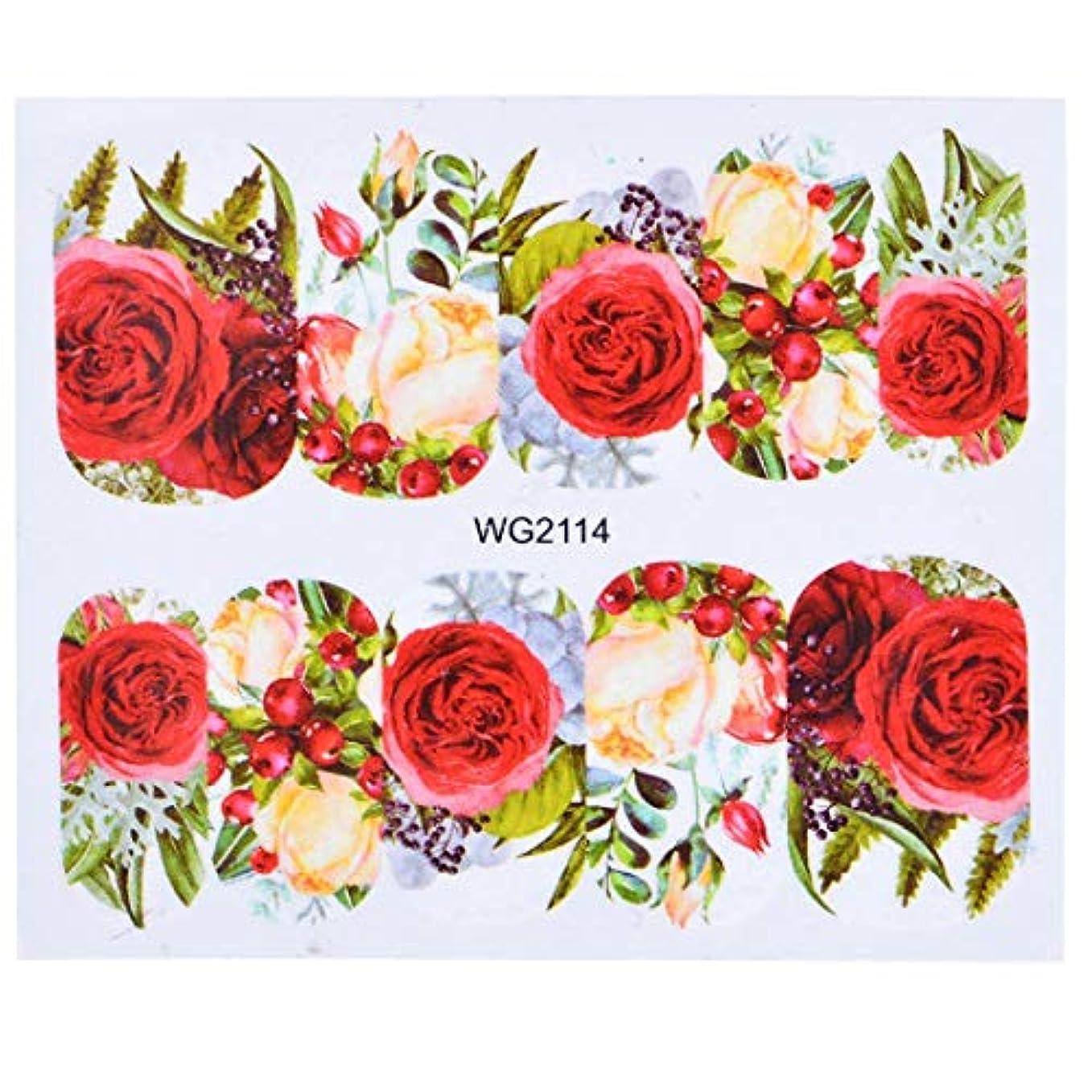 地獄スタンドとげSUKTI&XIAO ネイルステッカー 1枚の美しいロマンチックなステッカー赤いスカートの女の子のネイルアートデザインマニキュア水転写デカールのヒントマニキュア、Wg2114