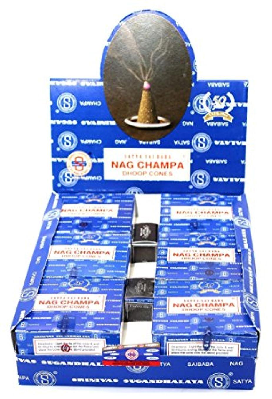 Nag Champa Satya Sai Baba Temple Incense Cones Carton, 12 Box by Nag Champa [並行輸入品]