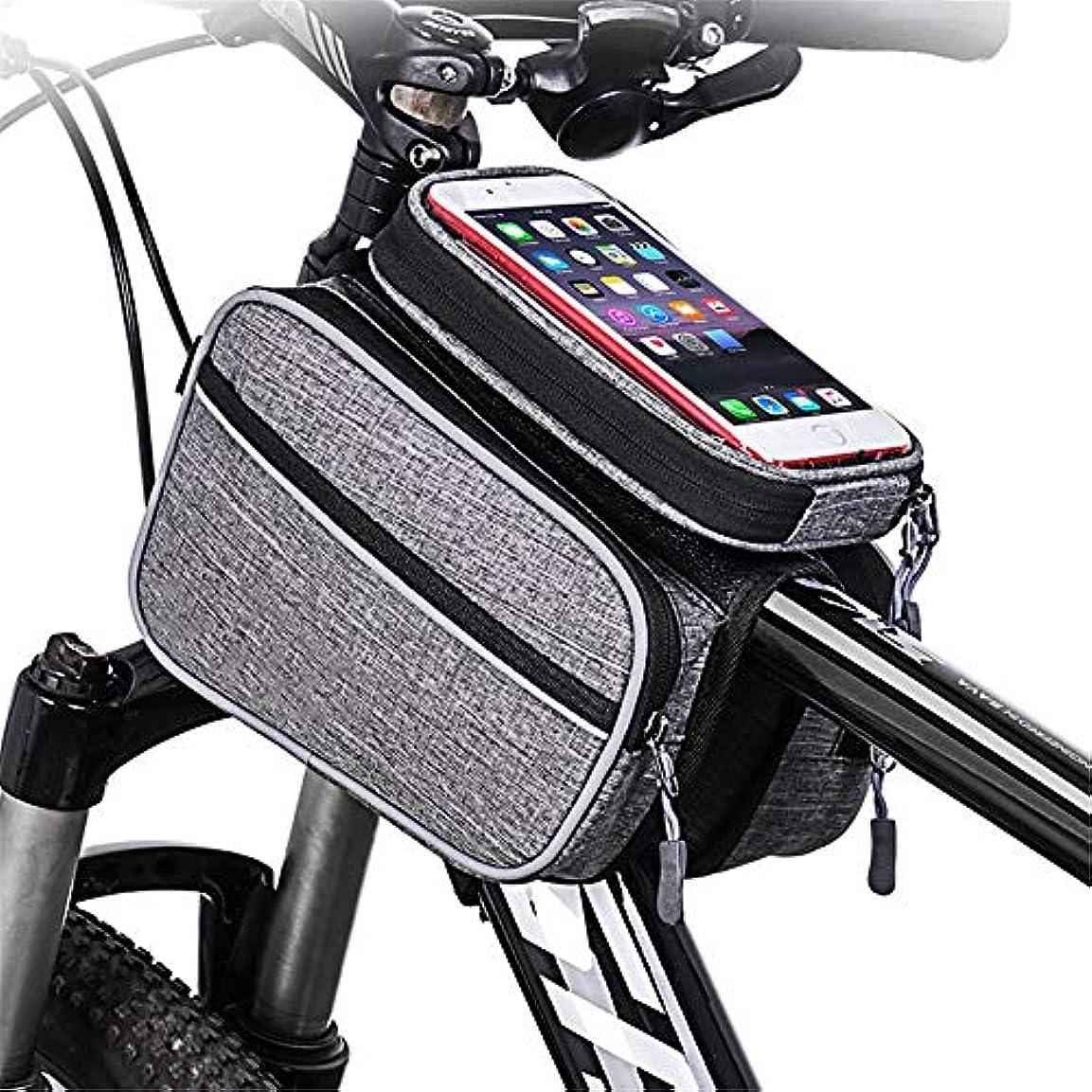 小さい花輪ジュニア自転車シートパックバッグビジュアルウィンドウ自転車フレームトゥキャップチューブ自転車フロントチューブフレームダブルバッグバッグ、IPhone X 7 Plus / 6 / 6S Plus Smartphone最大6.0インチ サイクリングバッグ防水