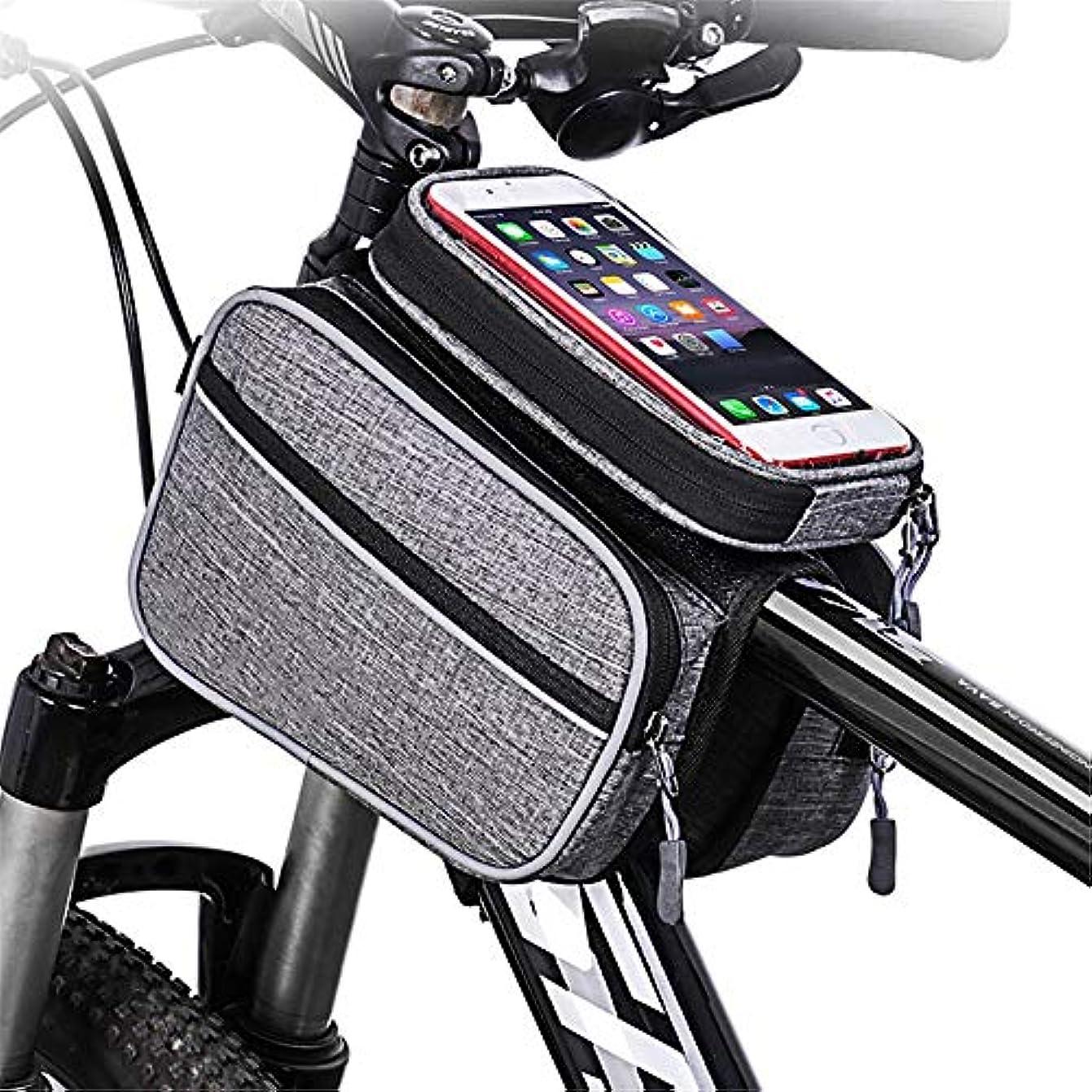 乳剤シェフ虚弱自転車フレームバッグ 表示可能なウィンドウバイクフレームフロントビーム管自転車フロントチューブフレームダブルバッグスマートフォンまでの6.0インチ 大容量で実用的