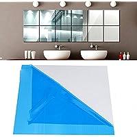 Euone ウォールステッカー 16X ミラータイルデカール ホームリビングルーム装飾 正方形粘着壁用ステッカーポスター