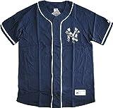 ベースボールシャツ ニューヨークヤンキース 胸ロゴ 迷彩プリント 高級綿100%仕様(XXL、ネイビー)