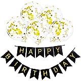 Vergeania 12インチゴールデン紙吹雪風船誕生日風船白お誕生日おめでとうバナープル花誕生日パーティーの衣装。誕生日の装飾パーティーの装飾 (色 : A001)