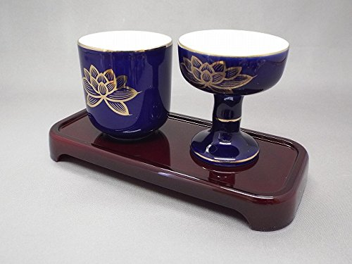サンメニーこだち仏器膳セット 台 タメ 陶器 瑠璃金蓮 ▼ 実店舗に在庫がない場合はお取り寄せとなります。(在庫の無い場合はメールにてご連絡します)