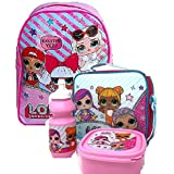LOL Surprise Kids Childrens School Bag with Insulated Lunch Bag Sandwich Box and Bottle