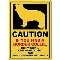 CAUTION IF YOU FIND マグネットサイン:ボーダーコリー(スモール)イエロー 注意 DON'T TOUCH 触れない/触らない KEEP GATE CLOSED ドアを閉める 英語 防犯 アメリカンマグネットステッカー