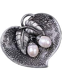 GuDeKe レディース ジュエリー アクセサリー レトロ ブローチ 真珠 ハート型 花柄 葉ブローチ ラペルピン