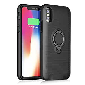 5000mAh iPhone 10/X/XS バッテリー内蔵ケース ケース型バッテリー 充電ケース バッテリーケース 急速充電 充電器 全面保護 超便利 大容量 内蔵磁性 リングホルダーキックスタンド付き 200%バッテリー容量追加(ブラック)-Loacy
