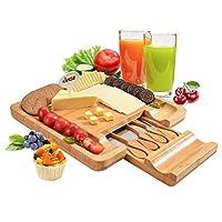 フィット竹チーズボードセット、大きなカッティングサーフェス、ホリデー集会に最適なプレゼンテーションピース、チーズパーティー、ワイナリー