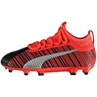 Puma One 5.3 Firm Ground FG Football Boots Juniors Black/Red Soccer Cleats Shoes