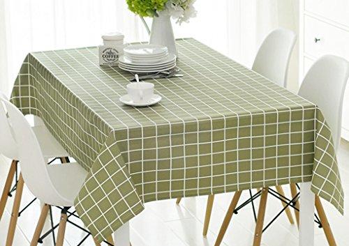 テーブルクロス、洗濯機コットンリネン地中海スタイルグリッドデザイン長方形テーブルクロスキッチンダイニングウェディングパーティーピクニックディナーテーブル布リビングルームTabletop Decorテーブルランナーカバー