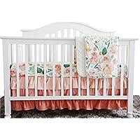 Secret Garden Coral Floral Ruffle Baby Minky毛布水カラー、ピーチフローラルNursery CribスカートセットベビーガールズCrib Bedding